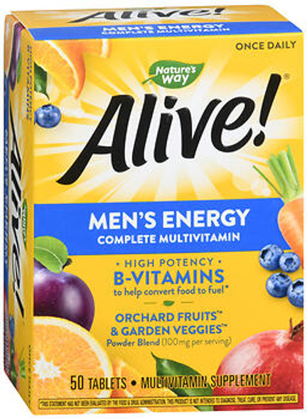 Nature's Way Alive! Men's Energy Complete Multi-Vitamin Tablets - 50 Tablets