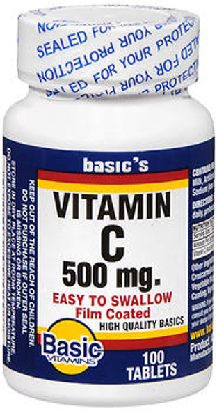 Basic Vitamins Vitamin C 500 mg Tablets - 100 ct