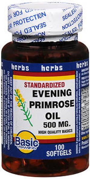 Basic Vitamins Evening Primrose Oil 500 mg Softgels - 100 ct