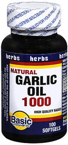 Basic Vitamins Natural Garlic Oil 1000 Softgels - 100 ct