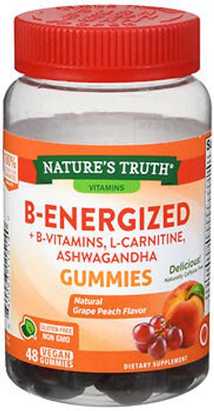 Nature's Truth B-Energized + B Vitamins, L-Carnitine, Ashwagandha Gummies Natural Grape Peach Flavor - 48 ct