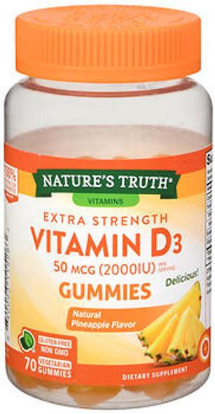 Nature's Truth Extra Strength Vitamin D3 50 mcg (2000 IU) Gummies Natural Pineapple Flavor - 70 ct