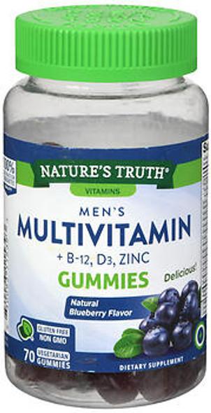Nature's Truth Men's Multivitamin + B-12, D3, Zinc Gummies Natural Blueberry Flavor - 70 ct