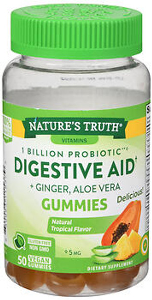 Nature's Truth 1 Billion Probiotic Digestive Aid + Ginger, Aloe Vera Gummies Natural Topical Flavor - 50 ct