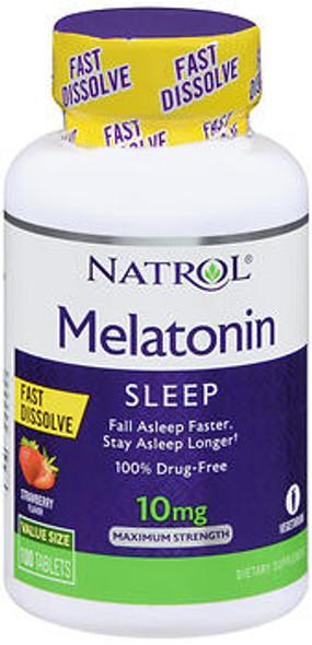 Natrol Melatonin 10 mg Fast Dissolve Tablets Maximum Strength Strawberry - 100 ct