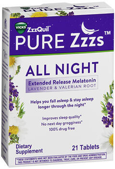 ZzzQuil Pure Zzzs All Night Extended Release Melatonin, Lavender & Valerian Root Tablets - 21 ct