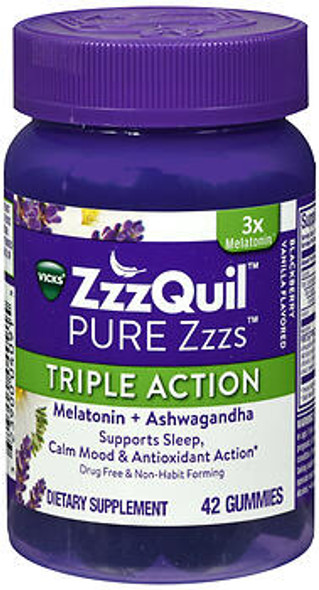 ZzzQuil Pure Zzzs Triple Action Melatonin and Ashwagandha Gummies - 42 ct