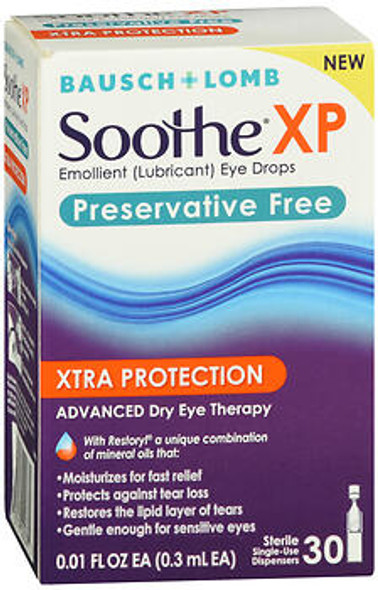 Bausch + Lomb Soothe XP Xtra Protection Eye Drops Preservative Free - 30 ct