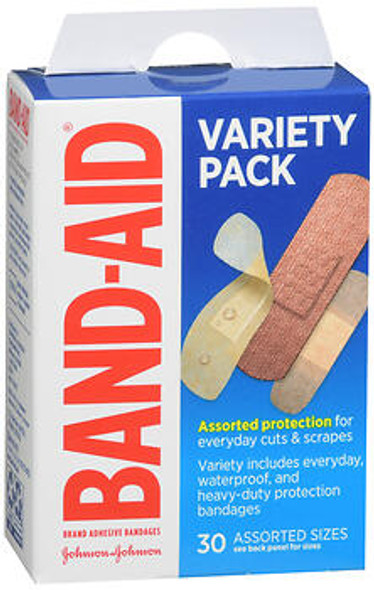 Band-Aid Adhesive Bandages Variety Pack Assorted Sizes - 30 ct