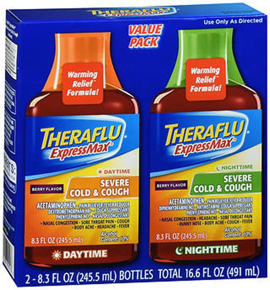 Theraflu ExpressMax Daytime & Nighttime Severe Cold & Cough Liquid Berry Flavor - 16.6 oz