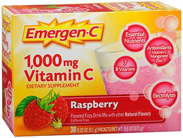 Emergen-C Vitamin C Fizzy Drink Mix 1000 mg Packets Raspberry - 30 packets