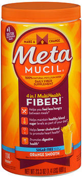 Metamucil 4 in 1 MultiHealth Fiber Powder Orange Smooth Sugar Free - 23.3 oz