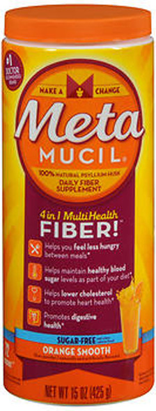 Metamucil 4 in 1 MultiHealth Fiber Powder Orange Smooth Sugar Free - 15 oz