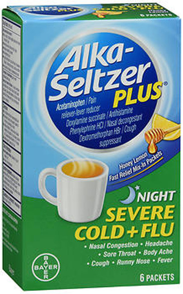 Alka-Seltzer Plus Night Severe Cold + Flu Powder Packets Honey Lemon