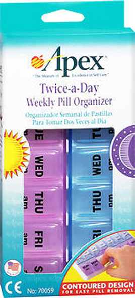 Apex Twice-A-Day Weekly Pill Organizer - 1 each