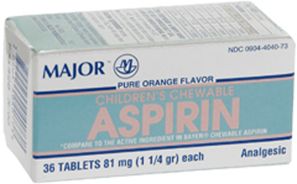 Major Children's Chewable Aspirin 81mg - 36 Tablets