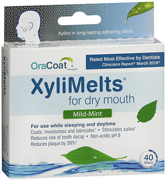 OraCoat XyliMelts for Dry Mouth, Mild-Mint - 40 Discs