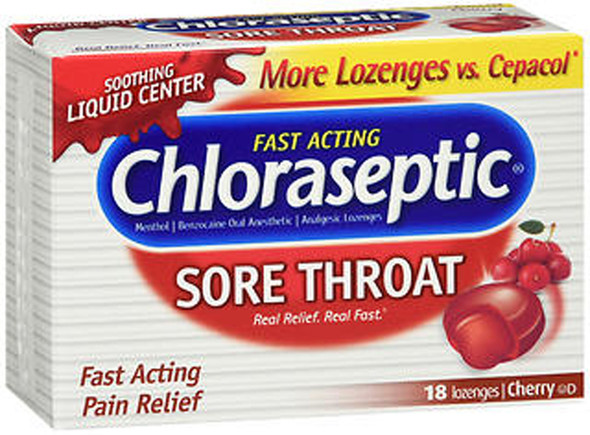 Chloraseptic Sore Throat Lozenges Cherry - 18 ct