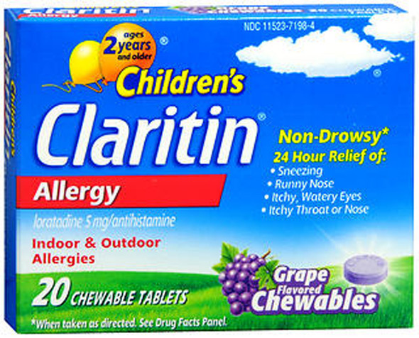 Claritin Children's 24 Hour Allergy Non-Drowsy Grape - 20 chewable Tablets