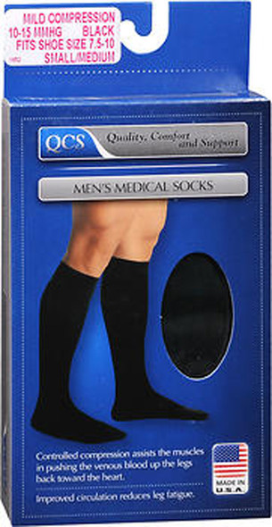 QCS Men's Medical Socks Mild Small/Medium, Black - 1 pr