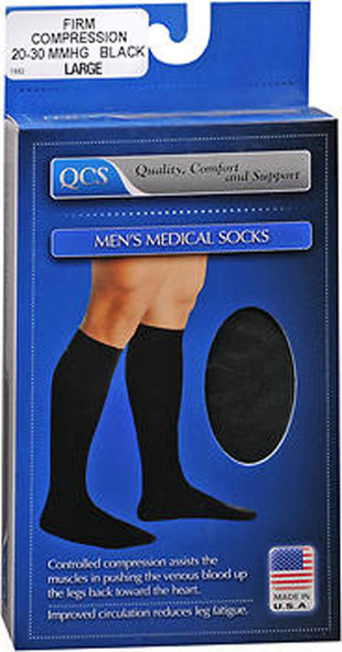 QCS Men's Medical Legwear Socks Firm, Black Large - 1 pr