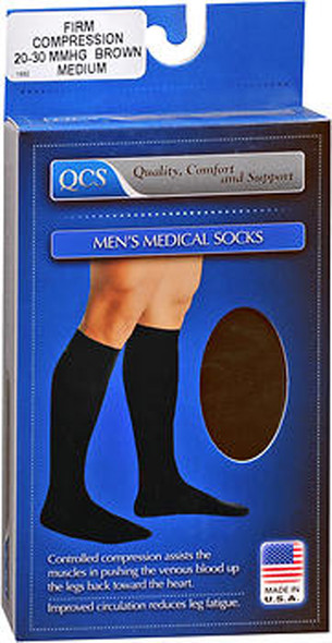 QCS Men's Medical Legwear Socks Firm, Brown Medium - 1 pr