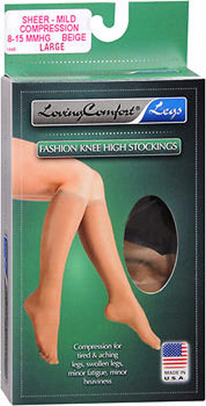 Loving Comfort Fashion Knee High Stockings Sheer, Mild Compression, Beige, Large - 1pr