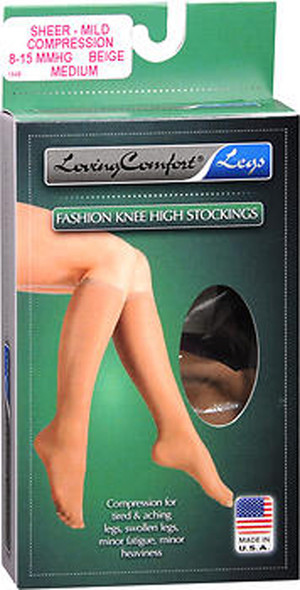 Loving Comfort Fashion Knee High Stockings Sheer, Mild, Beige, Medium - 1 pr