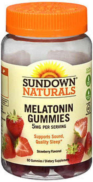 Sundown Naturals Melatonin 5 mg Dietary Supplement Gummies Strawberry Flavor - 60 ct