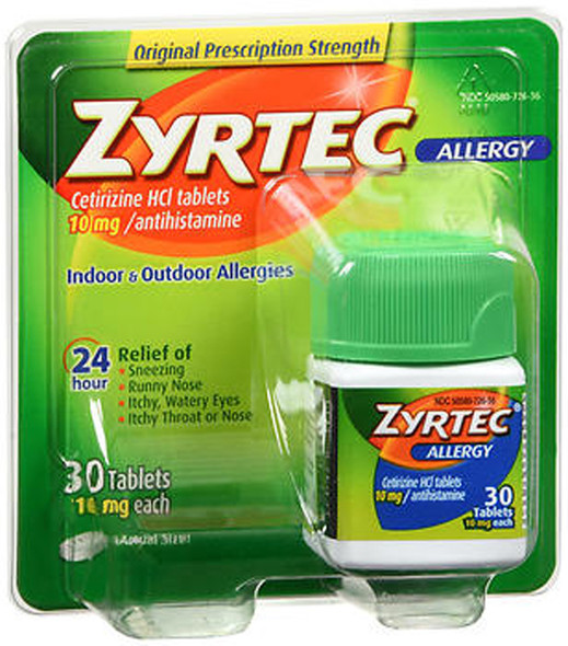 Zyrtec Allergy, 24 Hour 10 mg, Tablets  30 ea.