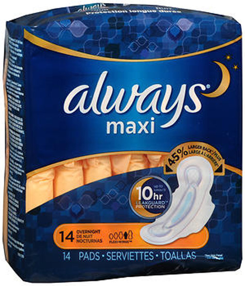 Always Overnight Maxi Pads with Flexi-Wings - 12pks of 14