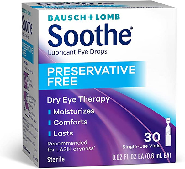 Bausch + Lomb Soothe Lubricant Eye Drops Single-Use - 30 ct