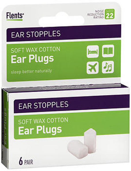 Flents Ear Stopples Soft Wax Cotton Ear Plugs - 6 Pair