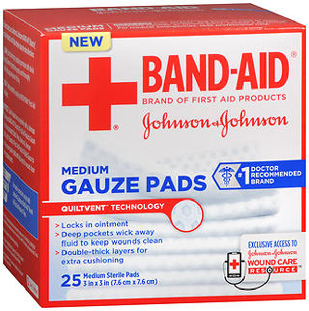 "Johnson & Johnson Red Cross Hospital Grade Gauze Pads 3""x3"" - 25 ct"