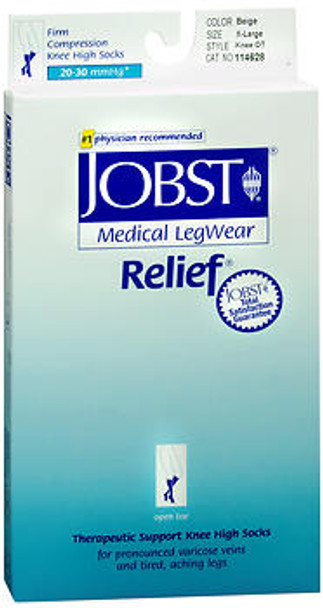 Jobst Medical LegWear Knee High 20-30 mmHg Firm Compression X-Large Beige Open-Toe #114628