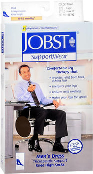 Jobst SupportWear Socks Men's Dress Knee High 8-15mmHg Brown Large #110790