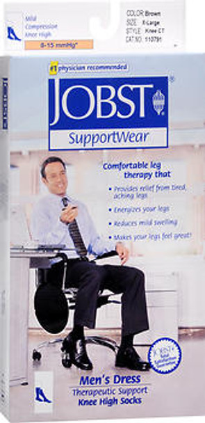Jobst SupportWear Socks Men's Dress 8-15mmHg Knee High Brown X-Large #110791