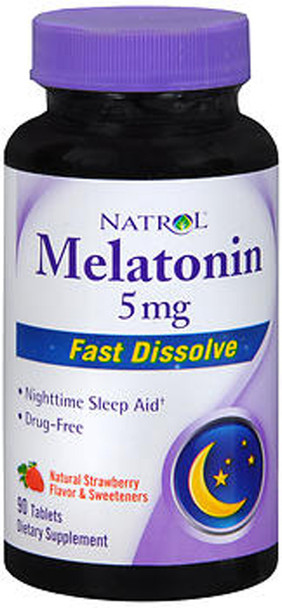 Natrol Melatonin 5 mg Fast Dissolve Strawberry Flavor - 90 Tablets
