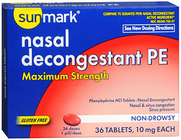 Sunmark Nasal Decongestant PE Tablets Maximum Strength- 36 ct
