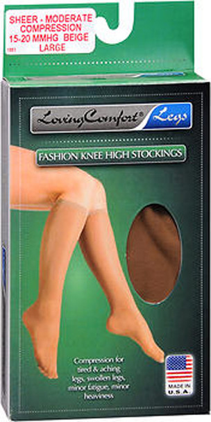 Loving Comfort Fashion Knee High Stockings Sheer Moderate Compression Beige Large - 1 pair