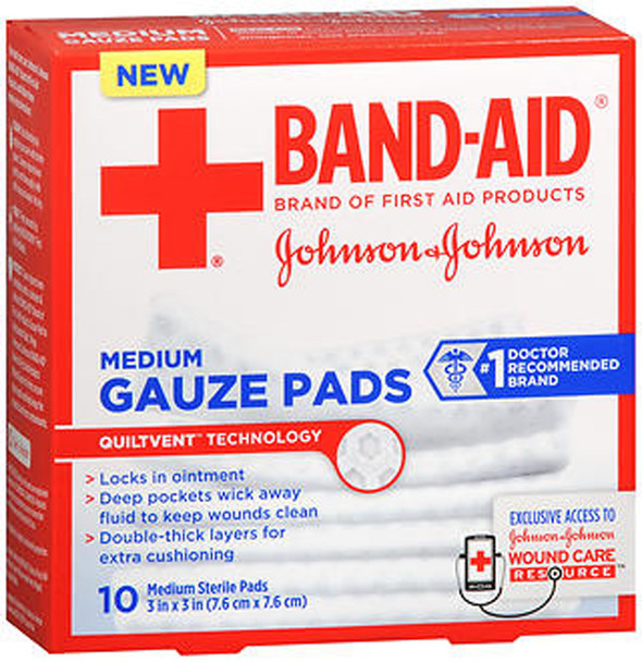 "Band-Aid Gauze Pads Medium 3x3"" - 10 ct"