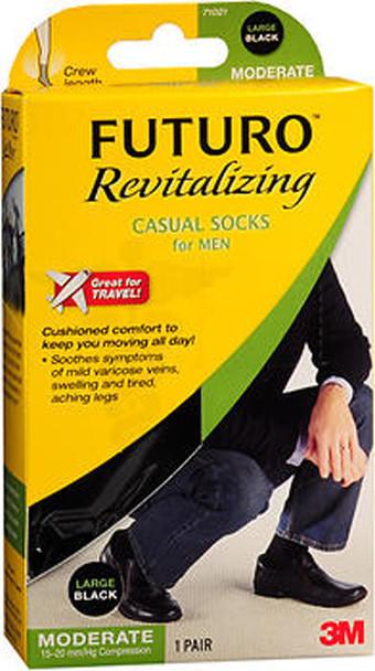Futuro Revitalizing Casual Crew Socks for Men Large Black Moderate Compression - 1 pr