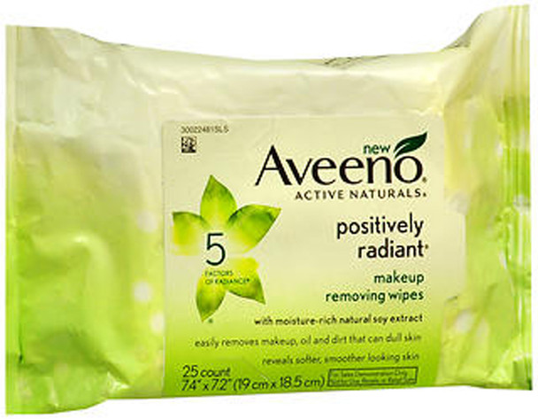 Aveeno Active Naturals Positively Radiant Makeup Removing Wipes - 25 ct