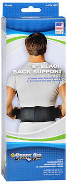 "Sport Aid 6"" Black Back Support - 1 ea."