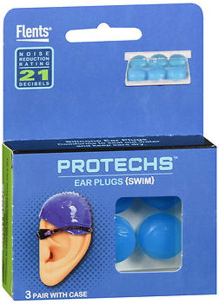 Flents Protechs Silicone Ear Plugs Swim - 3 Pair