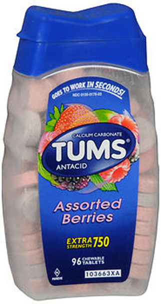 Tums Extra Strength 750 Chewable Tablets Assorted Berries - 96 ct