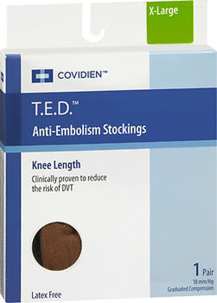 T.E.D. Anti-Embolism Stockings Knee Length Closed Toe Beige Extra Large Regular- 1 pair