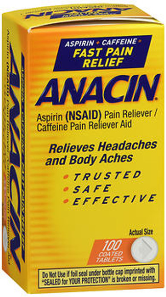 Anacin Aspirin Pain Relief Tablets - 100 ct