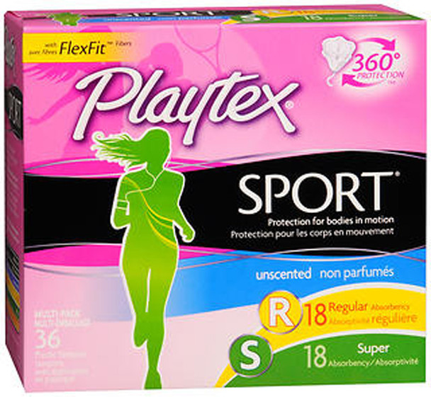 Playtex Sport Tampons with Plastic Applicators Unscented Multi-Pack - 36 ct