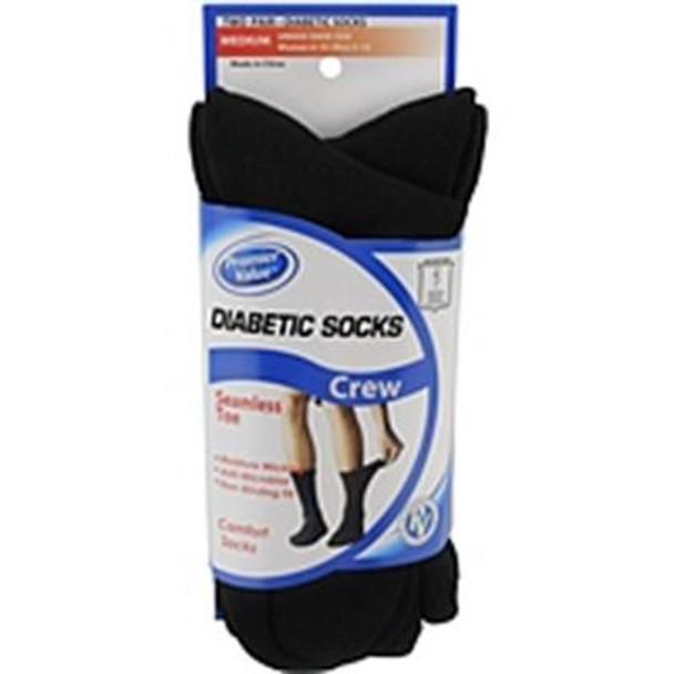Premier Value Seamless Toe Diabetic Crew  Socks- Black Md - 2pk